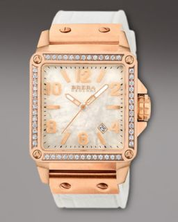 Brera Stella Diamond Rose Gold with MOP Dial on White Rubber   Neiman
