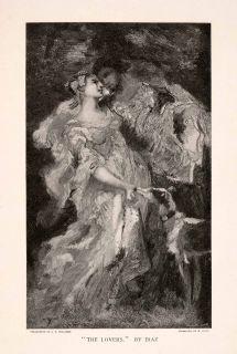 1896 Wood Engraving (Phooxylograph) Narcisse Virgilio Diaz Lover Dog