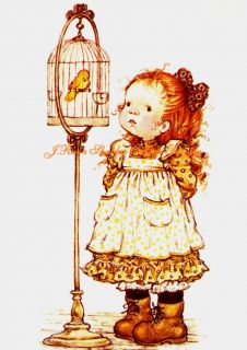 Too Cute Holly Hobbie Bird in A Birdcage 5x7 Fabric Block