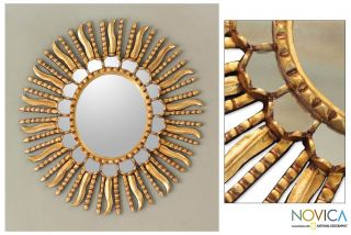 Starburst Bronze Leaf Mirror Frame Peru Wall Decor New