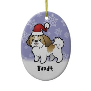 Christmas Shih Tzu (puppy cut) (add pets name) Ornaments