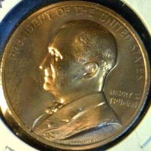 Harry S. Truman US MINT INAUGURATED Commemorative Bronze Medal   Token