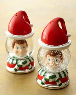 Christmas Elf Snow Globe Salt & Pepper Shakers