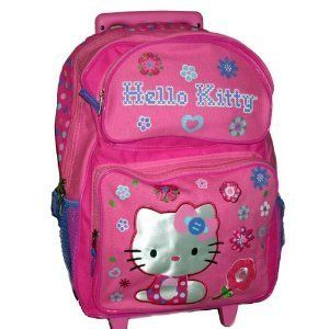 Hello Kitty Pink XLarge 16 Rolling Backpack Flower