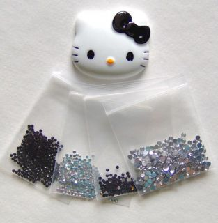 DIY Black Bow Hello Kitty Face Bling Flatback Resin Cabochons Kawaii