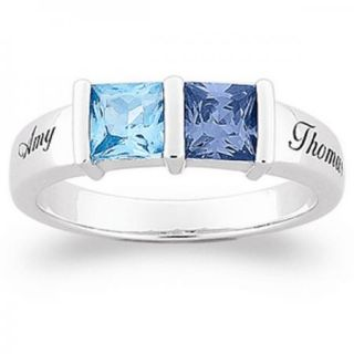 Personalized Sterling Silver Square Couples Name Birthstone Ring