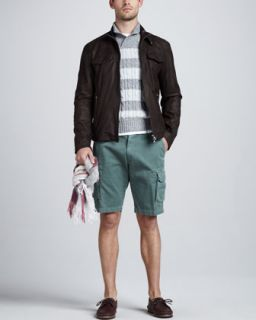 47WZ Brunello Cucinelli Leather Bomber Jacket, Rugby Stripe Shawl