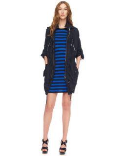 hooded tech jacket striped jersey dress $ 89 50 225