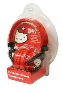 Brand new sealed Hello Kitty Foldable Plush Headphones Red   35009