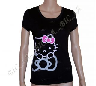 Black Sanrio Hello Kitty Sleepwear Lounge T Shirt Shirt Top Pajamas