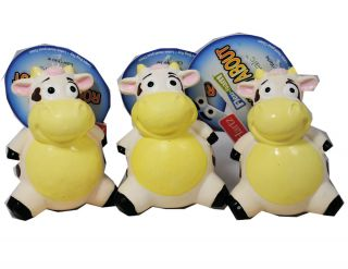 Lot of 3 Hartz Round About Cows Dog Toy with Squeaker