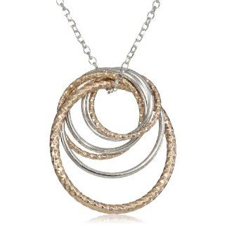 Sterling Silver TT (White & Rose) Circle Pendant on 18 Chain Jewelry