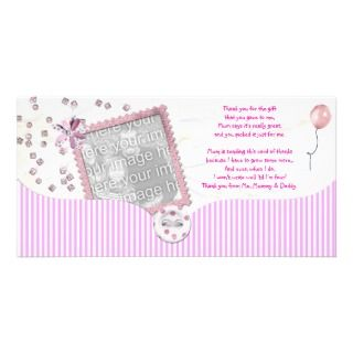 Pink Baby shower Thank You Photo Card baby