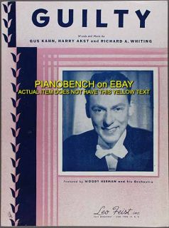 Guilty Kahn Akst Whiting Woody Herman and His Orchestra Sheet Music