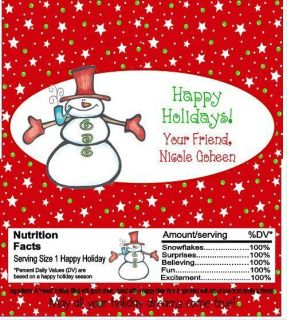 Christmas Snowman Candy Wrappers Party Favors Custom Personalized