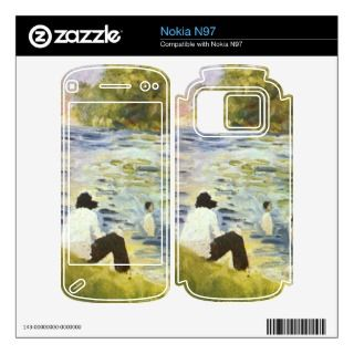 Bathing with a white horse in the river by Seurat Nokia N97 Decal