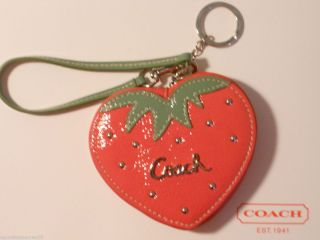 NEW COACH 60881 STRAWBERRY PATENT LEATHER COIN PURSE KEY CHAIN