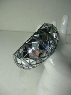 Henri Bendel Wide Gunmetal Mirror Glass Crystal Bangle Bracelet NWOT $