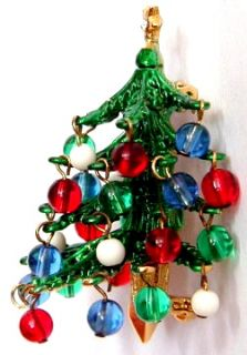 RARE 3 D Hattie Carnegie Christmas Tree Pin Dangling Beads Book PC