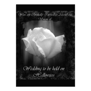Halloween Wedding White Rose Invitation