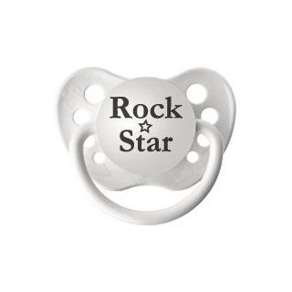 Personalized Pacifiers Rock Star Pacifier in White
