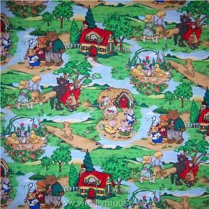 Half Yard Cranston Mother GOOSE Nursery Rhyme Landscape Quilting