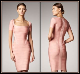 Herve Leger Rae Bandage Dress Size XS $1590 Authentic Signature Pink