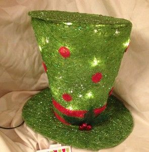 Lit Christmas 13 X 16 Polka Dot Frosty Top Hat Centerpiece Tree Topper