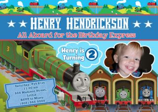 THOMAS THE TANK TRAIN CUSTOM BIRTHDAY INVITATIONS