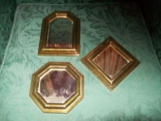 Home Interiors 3 Piece Gold Mirror Set ~Square Hexagon & Octagon~