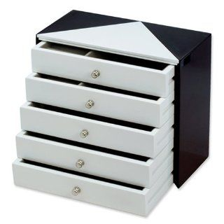 Black and White High Gloss Finish Jewelry Box Jewelry