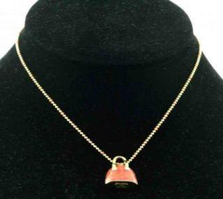 hidalgo 18k gold orange enamel purse charm necklace