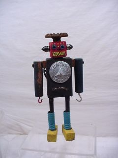 VINTAGE SPACE ROBOT TOY FOLK ART SIGNED GREAT UNIQUE GIFT ONE OF A