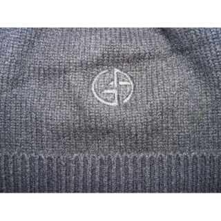 Mens Sz L XL Giorgio Armani 100 Cashmere Black Cap Hat Beanie Scully