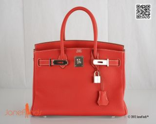 Hermes Birkin Bag 30cm 2 Tone Sanguine with White Eclat Stunning