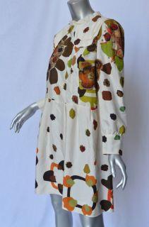 Retro Floral SILK Dress Peter Pan Collar+Back Bow Day/Night L/44