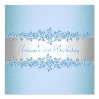Elegant Pretty Blue Roses Birthday Party Announcements