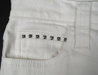 Frankie B New Dolce Essence White Heart Studded Pocket Slim Boot Cut