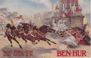 Pre 1920 Ben Hur Horse Chariot Postcard  Roebuck Advertising