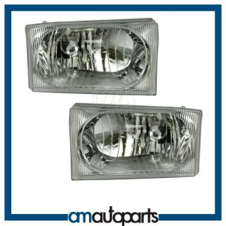 Headlamps Headlights w Clear Lens Left Right Pair Set for Ford Pickup