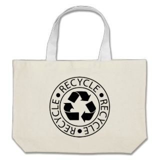 Recycle Black Logo Tote Bags