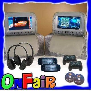 2X 9Grey Car Headrest DVD Player Monitor Cover Phones