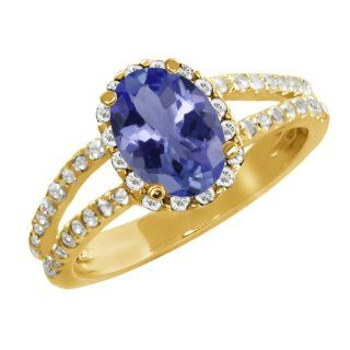 1.64 Ct Oval Blue Tanzanite White Sapphire 14K Yellow Gold