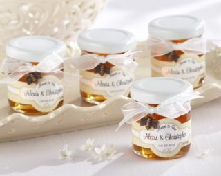 Bee Personalized Wedding Shower Favor Jars w Honey Bee Charm