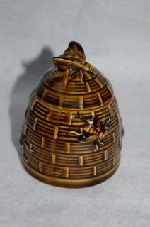 Vintage Brown Ceramic Honey Pot Beehive w Bees Made in Japan Nice