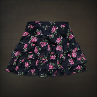 Hollister Women Navy Blue Pink Floral Tiered Ruffle Skirt La Jolla