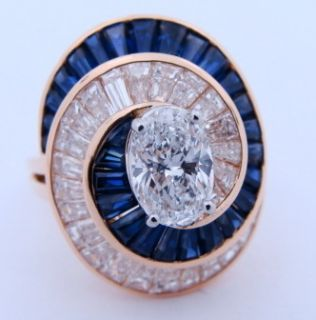 Ladies Designer Oscar Heyman 18K Yellow Gold Diamond Sapphire Ring