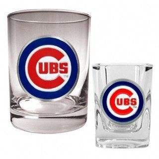 Chicago Cubs Primary Logo Rocks Glass and Square Shot
