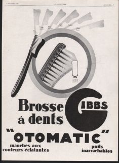 GIBBS TOOTHBRUSH DENTAL HYGIENE DENTIST HEALTH CLEAN HYGIENIST ART AD