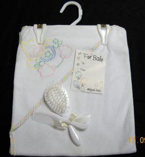 Baby/Infant Bath Time Set Hooded Bath Towel w/ Applique, Brush & Comb